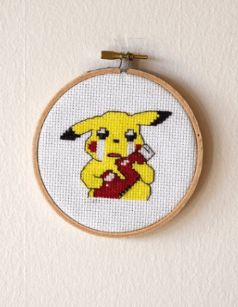 pika ketchup cross stitch